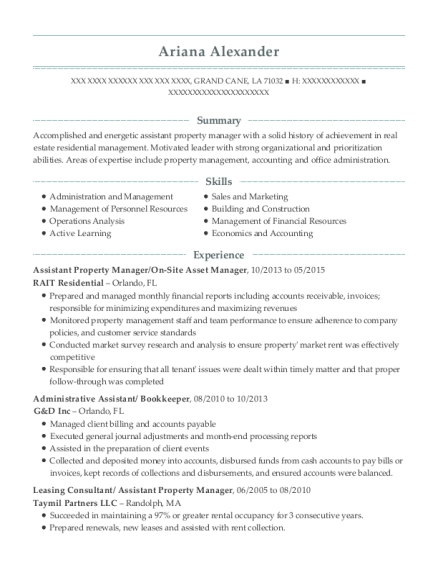 golf north properties assistant property manager resume
