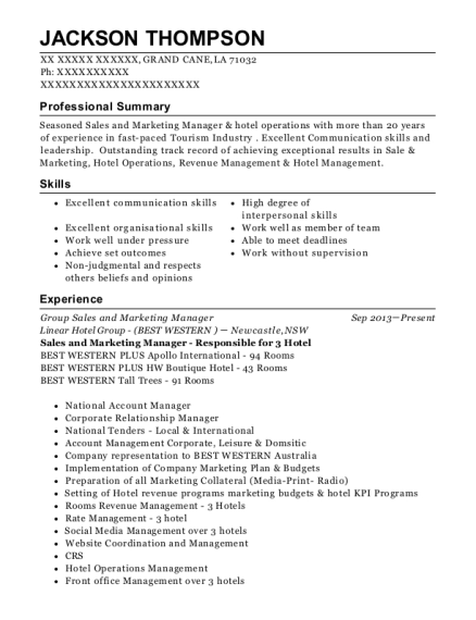 Group Sales and Marketing Manager resume template Louisiana