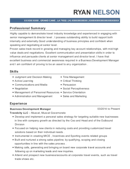 Business Development Manager resume example Louisiana