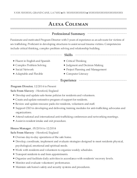 Program Director resume template Louisiana
