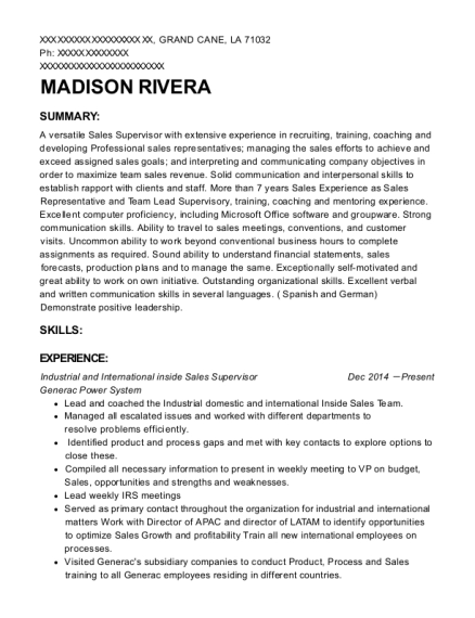 Industrial and International inside Sales Supervisor resume sample Louisiana