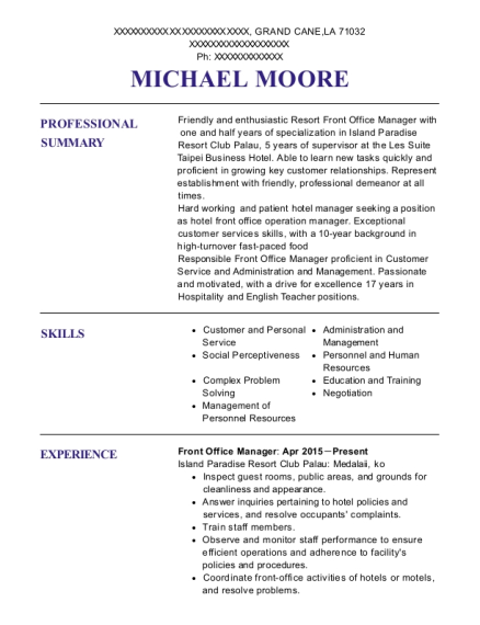 Front Office Manager resume example Louisiana