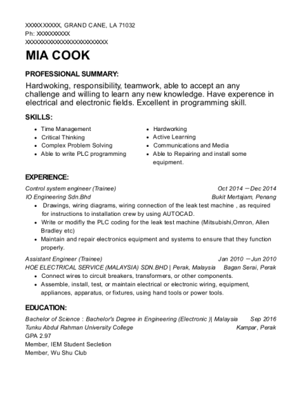 Control system engineer resume format Louisiana