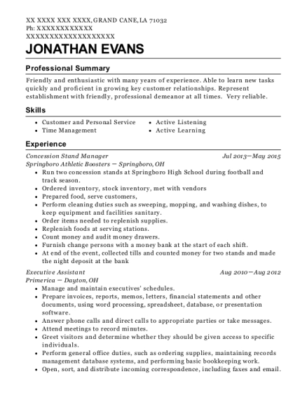 Concession Stand Manager resume template Louisiana