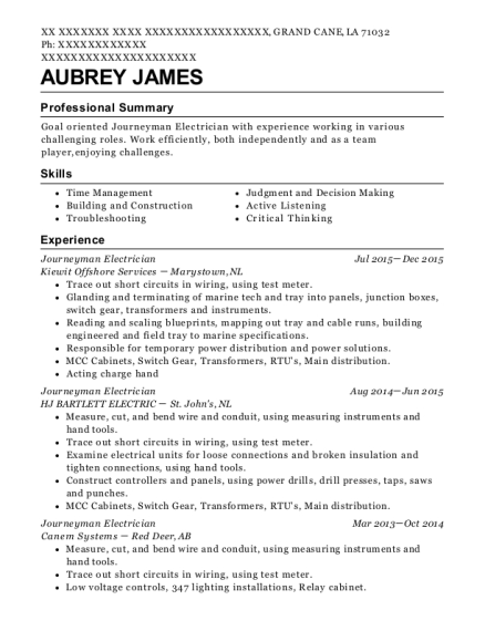 Journeyman Electrician resume example Louisiana