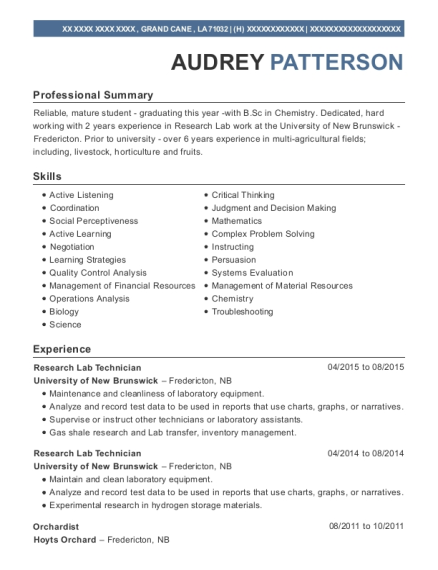 Research Lab Technician resume example Louisiana