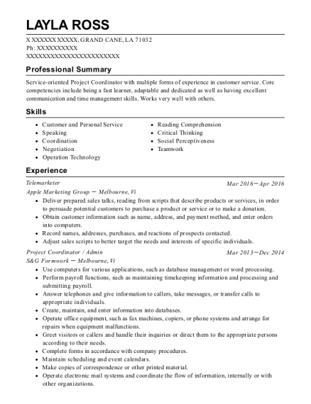 Telemarketer resume example Louisiana