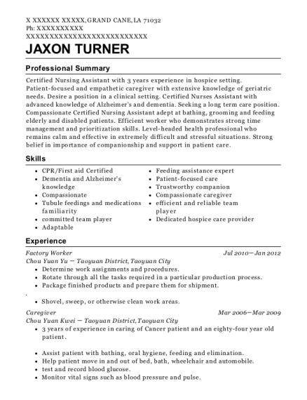 Factory Worker resume template Louisiana