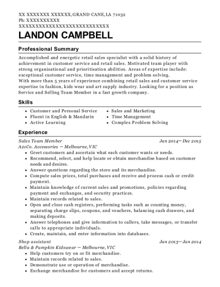 Sales Team Member resume example Louisiana