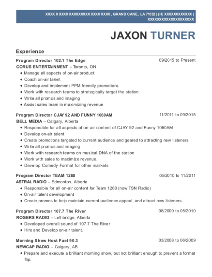Program Director 1021 The Edge resume format Louisiana