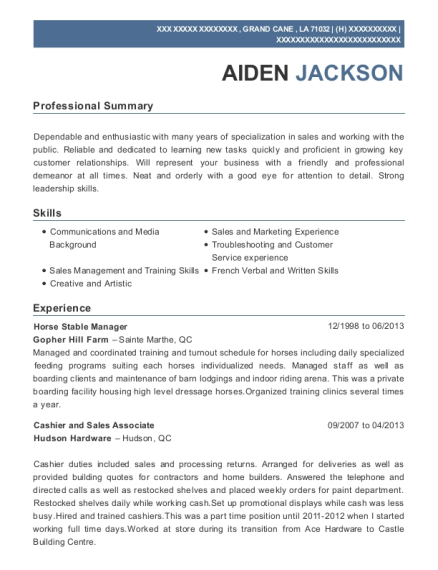 Horse Stable Manager resume template Louisiana