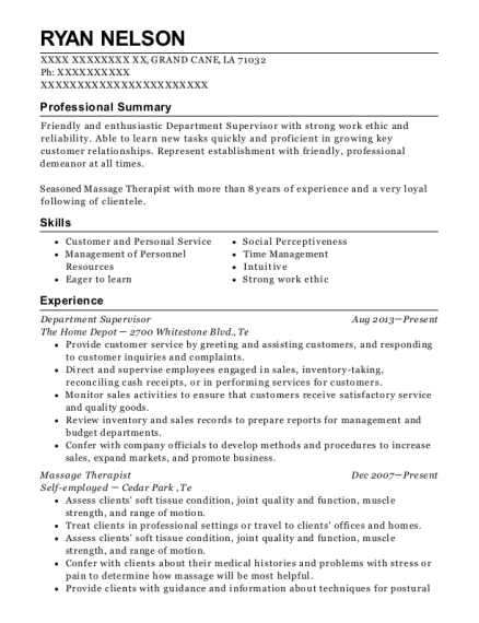 Department Supervisor resume template Louisiana