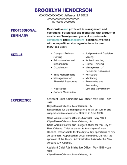 Assistant Chief Administrative Officer resume sample Louisiana
