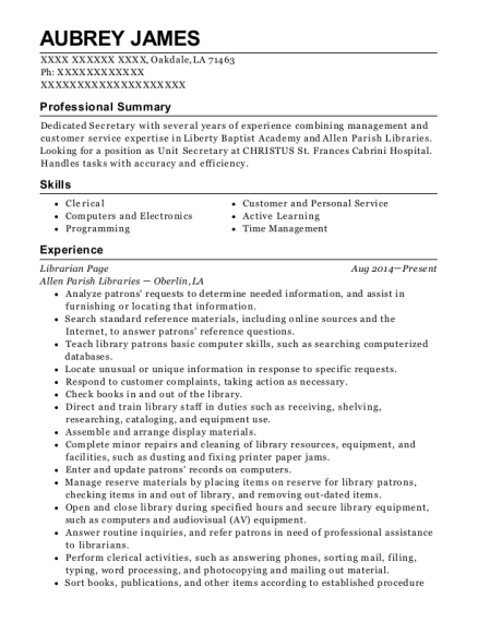 Librarian Page resume format Louisiana