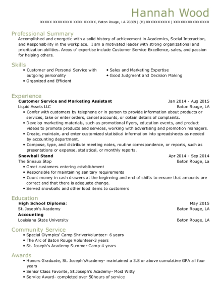 Customer Service and Marketing Assistant resume example Louisiana