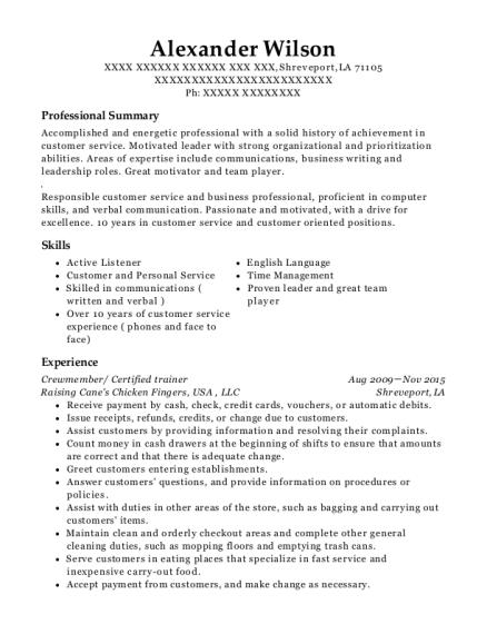 Crewmember resume template Louisiana