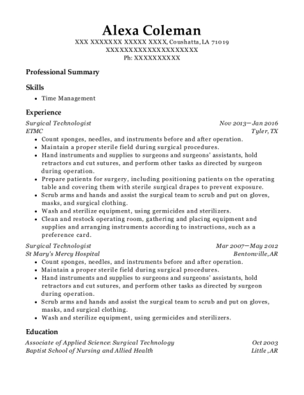 Surgical Technologist resume sample Louisiana