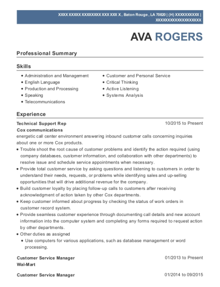 Technical Support Rep resume format Louisiana
