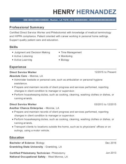 Direct Service Worker resume example Louisiana