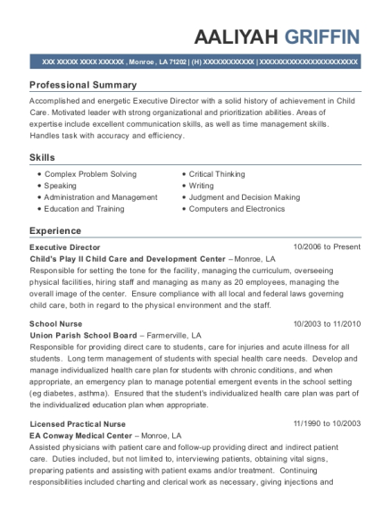 Executive Director resume sample Louisiana