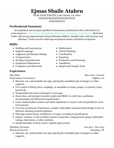 Pipe Fitter resume template Louisiana