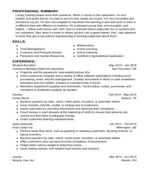 Student Assistant resume example Louisiana