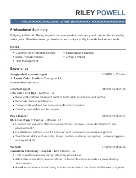 Independent cosmetologist resume example Louisiana