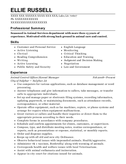 Animal Control Officer resume template Louisiana