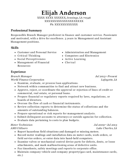 Branch Manager resume format Louisiana