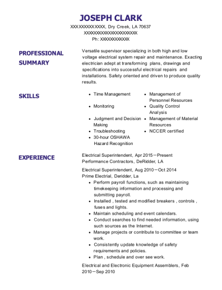 Electrical Superintendent resume format Louisiana
