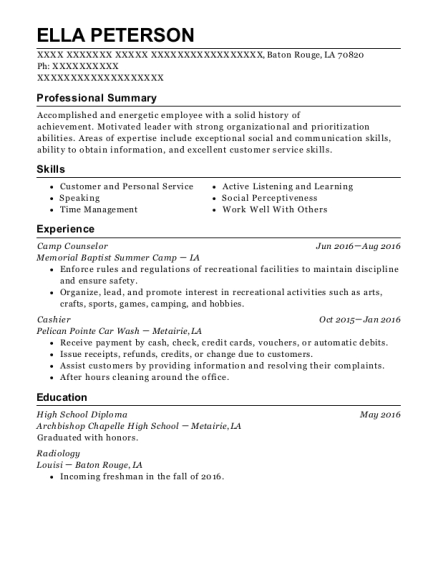 Camp Counselor resume example Louisiana