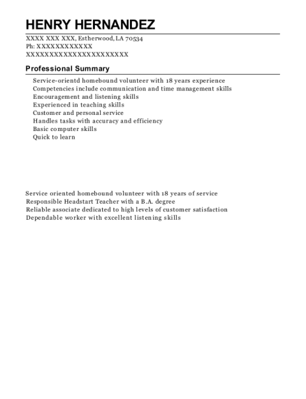 Homebound volunteer resume template Louisiana