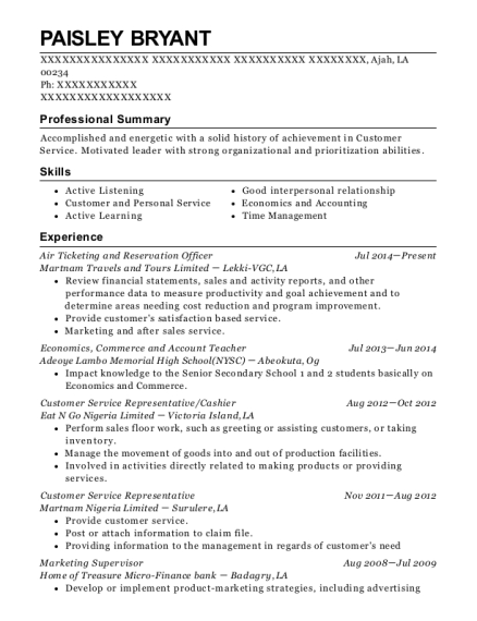 Air Ticketing and Reservation Officer resume template Louisiana