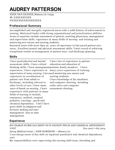 RN CHARGE NURSE DAY SHIFT OF IN PATIENT PSYCH AND CHEMICAL DEPENDENCY UNIT resume template Louisiana