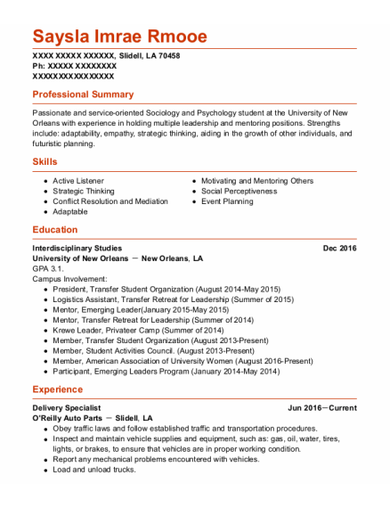 Delivery Specialist resume example Louisiana