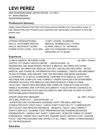 CLINICAL MEDICAL RECORDS CLERK resume example Louisiana