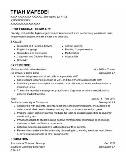 Medical Administrative Assistant resume example Louisiana