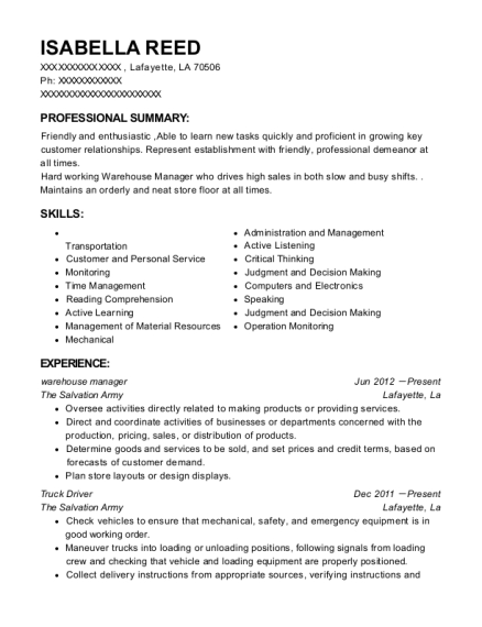 Warehouse Manager resume template Louisiana
