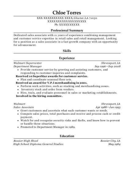 Department Manager resume example Louisiana