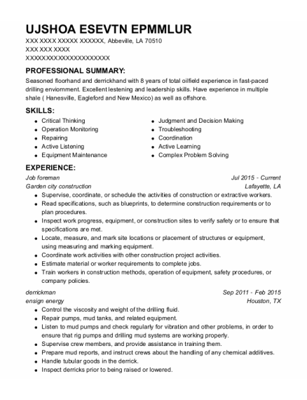 Job Foreman resume sample Louisiana