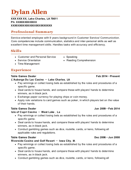 Table Games Dealer resume example Louisiana