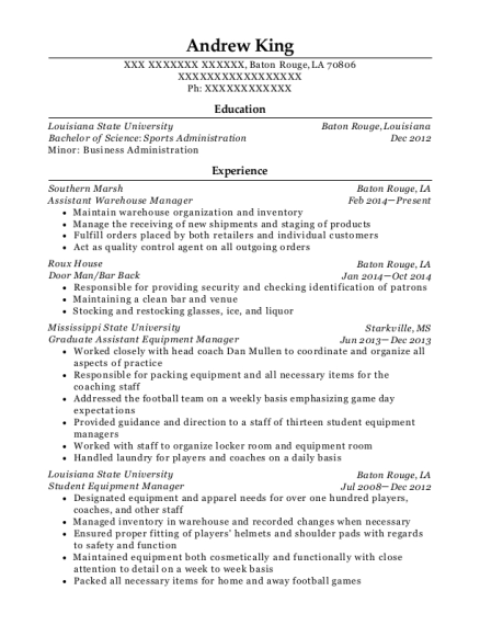 Assistant Warehouse Manager resume example Louisiana