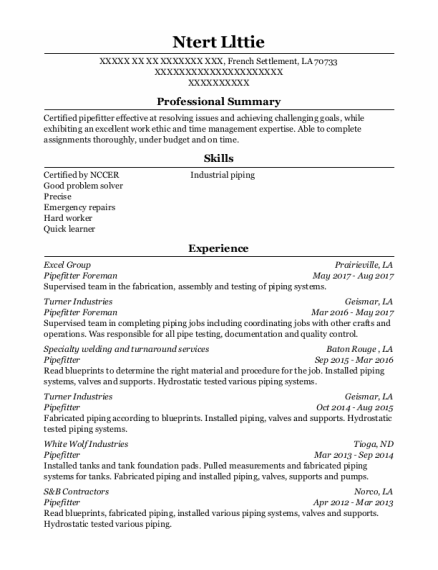 starcon international pipefitter foreman resume sample