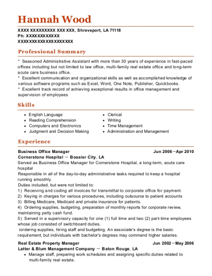 Business Office Manager resume example Louisiana