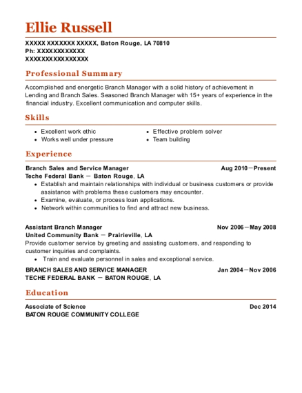 Branch Sales and Service Manager resume sample Louisiana