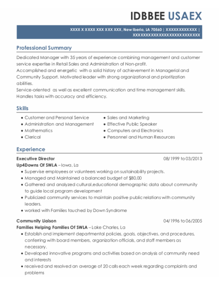 Executive Director resume template Louisiana