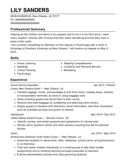 Guest Service Expeditor resume example Louisiana