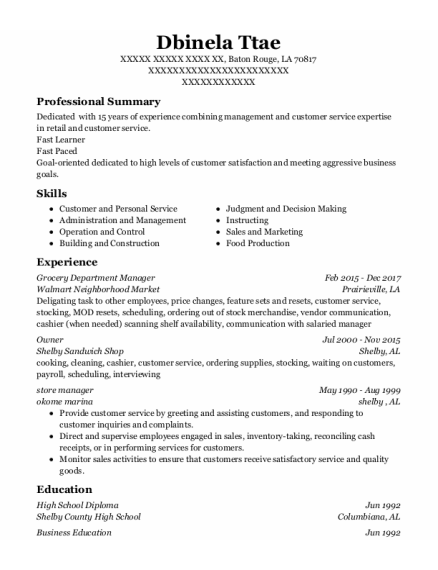 Best Grocery Department Manager Resumes