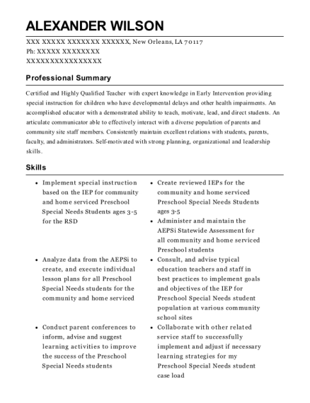 Community Early Interventionist resume template Louisiana