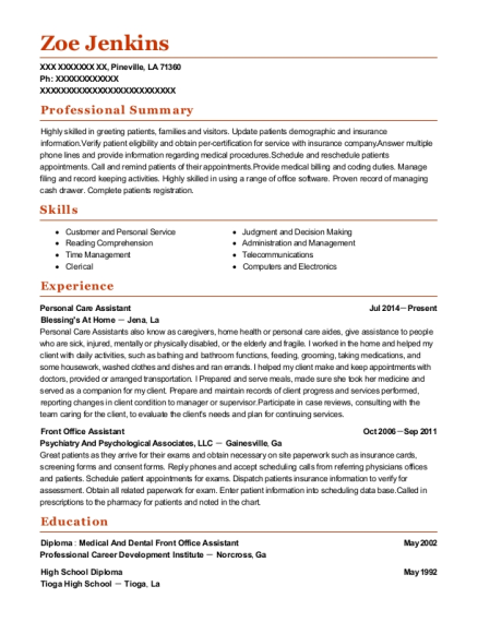 Personal Care Assistant resume example Louisiana